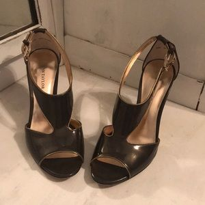 Dark Grey Patent Leather Heels by Ann Taylor